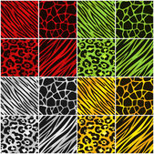 Holiday Color Animal Print Backgrounds — Stock Vector