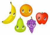 Fruit With Faces — Stock Vector