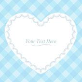 Heart-Shaped Blue Plaid Frame — Stock Vector