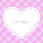 Heart-Shaped Pink Plaid Frame — Stock Vector