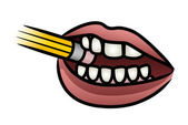 Mouth Biting Pencil — Stock Vector