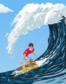 Big wave surfer — Stock Vector