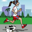 Running girl with headphones and dog — Stock Vector #23457536