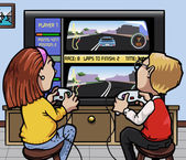 Car racing videogames — Stok Vektör