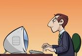 Employee at work — Vector de stock