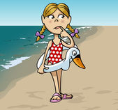 Little girl at the beach — Stock Vector