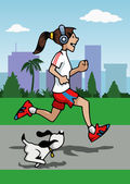 Running girl with headphones and dog — Stok Vektör