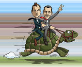 Turtle riding — Stok Vektör
