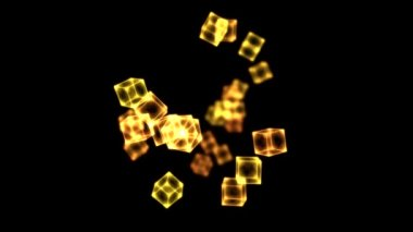 Bright Rotating Cubes - Loop Golden — Stock Video
