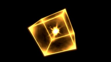 Rotating Glowing Cube Animation - Loop Golden — Stock Video