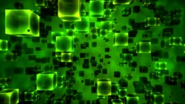 Abstract Cubes Animation - Loop Green — Stock Video
