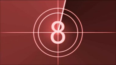 Movie Countdown Animation - Red — Vídeo Stock