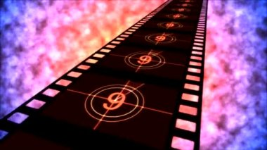 Movie Countdown Animation - Loop Red Purple — Vídeo Stock