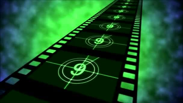 Animación cine cuenta regresiva - lazo verde — Vídeo de stock