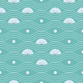 Vector seamless pattern with shells and wavy lines — Stock Vector