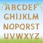 Alfabeto de madera — Vector de stock
