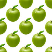 Seamless pattern with green apples — Stock Vector