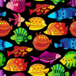 Stok Vektör: Seamless pattern with colorful tropical fish