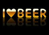 Inscripción amo la cerveza — Vector de stock
