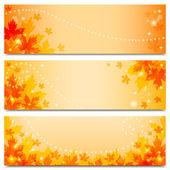 Höstens banners med maple lämnar — Stockvektor