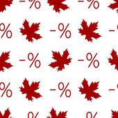осенняя скидка бесшовный паттерн с символы процента и кленовых листьев. — Cтоковый вектор