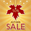 Autumn sale background with maple leaf and rays. — Stock Vector