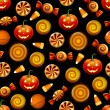 Stok Vektör: Halloween candy seamless pattern with pumpkins
