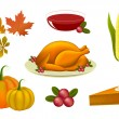 Set of Thanksgiving icons — Stock Vector
