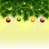 Background with Christmas tree and balls — Vecteur