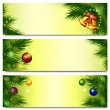 Stock Vector: Banners with Christmas tree, bells and balls