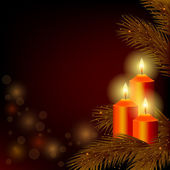 Background with burning candles and Christmas tree — Stok Vektör