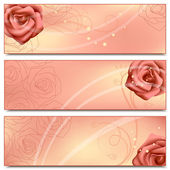 Floral banners with roses — Vector de stock