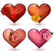 Set of glossy hearts with roses — Stock Vector #40328593