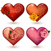 Set of glossy hearts with roses — Stock Vector