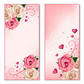 Floral vertical banners with roses — Stock Vector