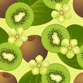 Fruity seamless pattern with kiwi fruit — Stock Vector