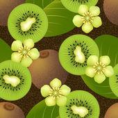Fruity seamless pattern with kiwi fruit on dark background — Stock Vector