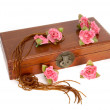 Wooden box with roses — Stock Photo