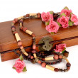 Wooden box with roses - Foto de Stock