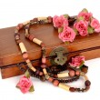 Wooden box with roses - Stok fotoğraf
