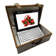 Old case with notebook — Stock Photo