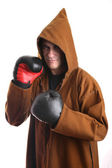 Monk iwith boxing gloves — Foto de Stock