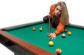 Garota de snooker — Foto Stock
