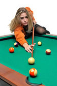 Snooker girl — Stock Photo