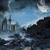 Futuristic illustration with a dramatic landscape — Stock Photo