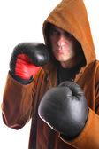 Mönch mit boxhandschuhe — Stockfoto