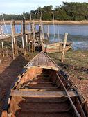 Old boat in Obidos Lagoon — Stock Photo