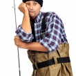 Bored fisherman — Stock Photo