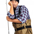 Bored fisherman - Stock Photo