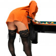 Snooker girl - Stock Photo